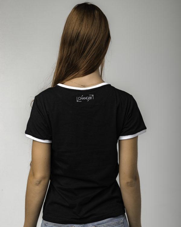Czarna koszulka damska z logiem tyłem