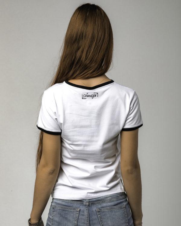 Biała damska koszulka standardowa tyłem